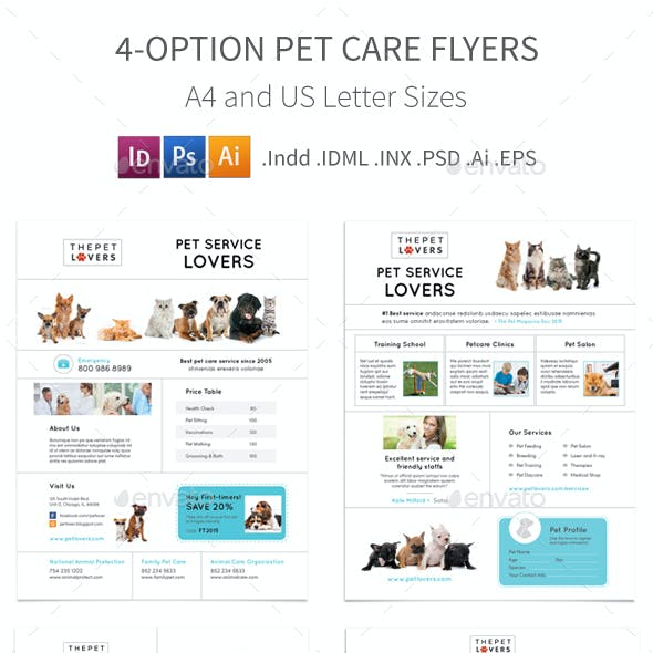 Pet Care Flyers 4 – 4 Options