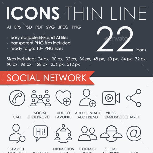 Social network thinline icons