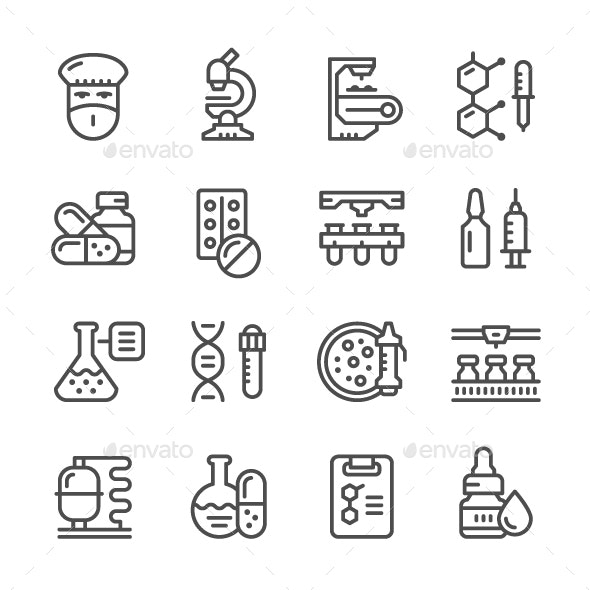Set Line Icons of Pharmaceutical Industry - Man-made objects Objects