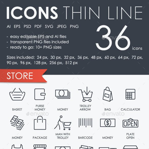 Store Thinline Icons