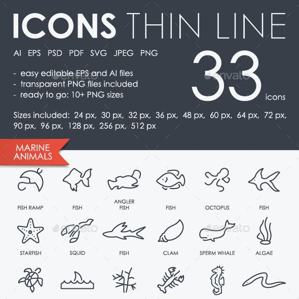 Marine Animals Thinline Icons