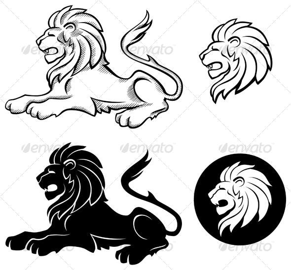 Lion Siluettes - Tattoos Vectors