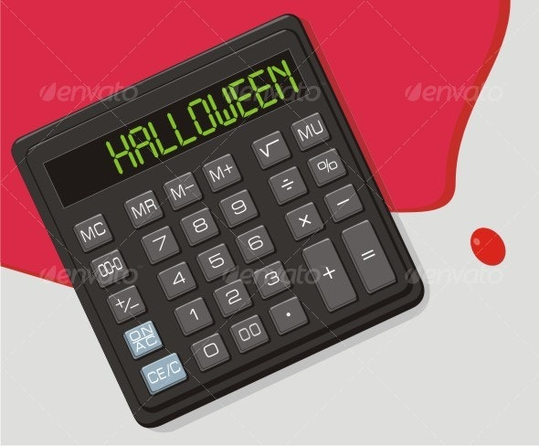 Halloween, The calculator and blood on office tabl - Halloween Seasons/Holidays