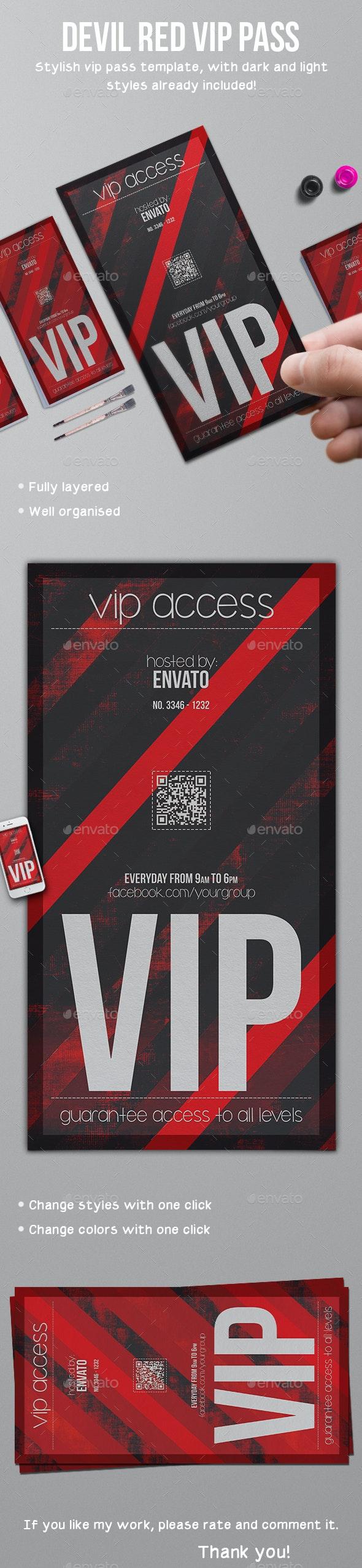 Devil Red Vip Pass Template - Invitations Cards & Invites
