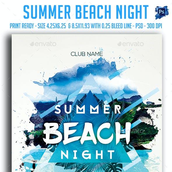 Summer Beach Night Party Flyer