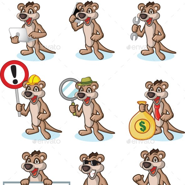 Tan Meerkat Mascot Set