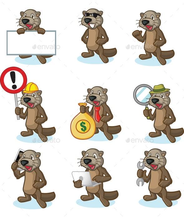 Dark Brown Sea Otter Mascot Set