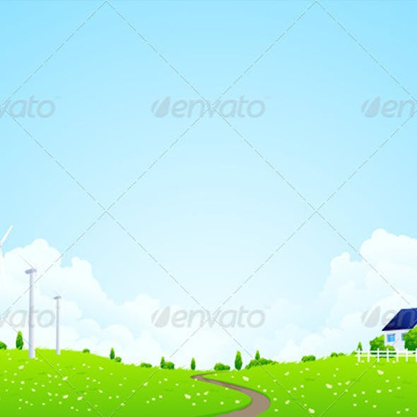 Green Landscape with House