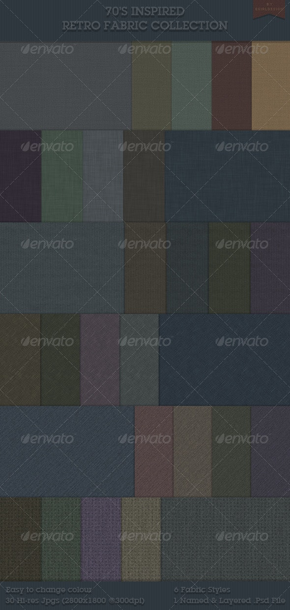 70s Retro Inspired Fabric Collection - Patterns Backgrounds