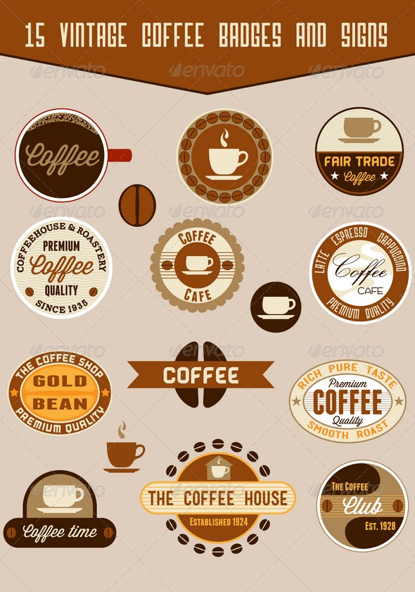 15 coffee badges and signs - Badges & Stickers Web Elements