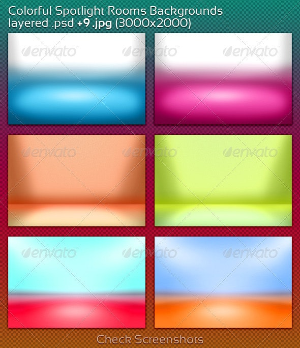 Colorful Spotlight Rooms Backgrounds - 3D Backgrounds