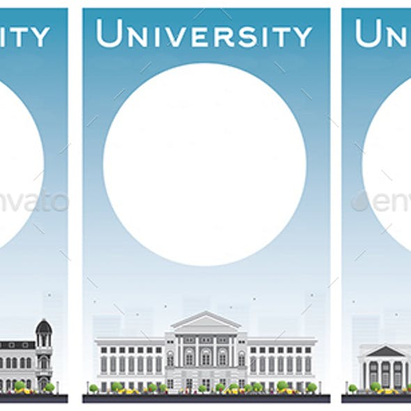 Set of University Study Banners with Copy Space