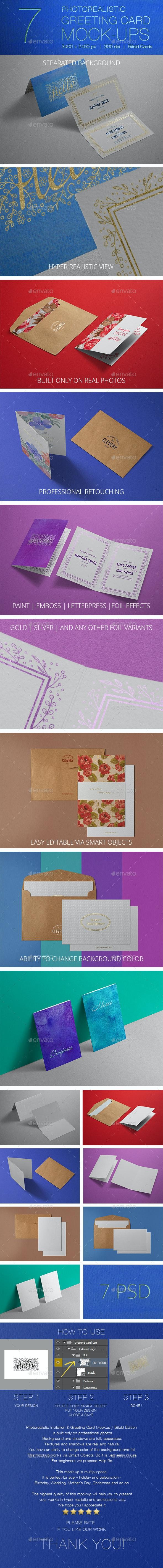 Photorealistic Invitation & Greeting Card Mockup / Bifold Edition - Miscellaneous Print