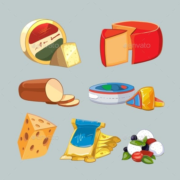 Cheese In Packaging. Vector Set Cartoon Style