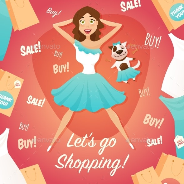 Shopping Girl Sale Advertisement Flat Poster  - Commercial / Shopping Conceptual
