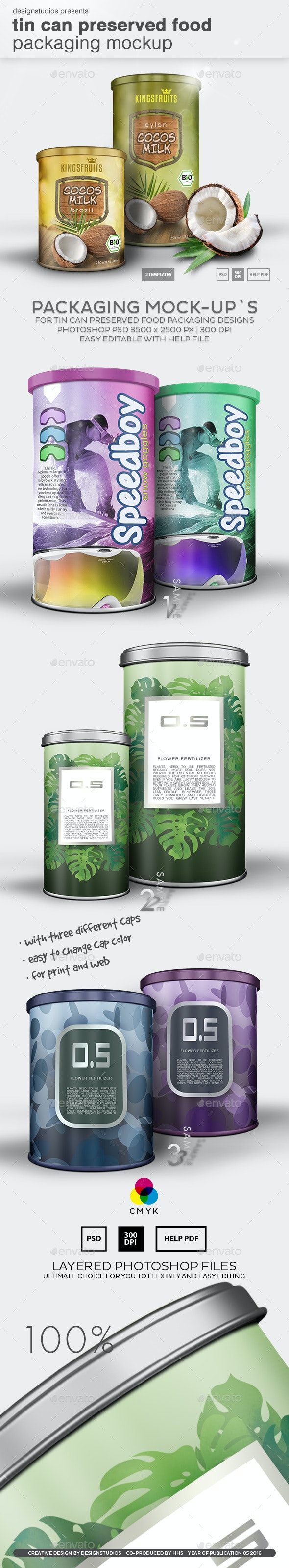 Tin Can Preserved Food Packaging Mock-Up - Product Mock-Ups Graphics