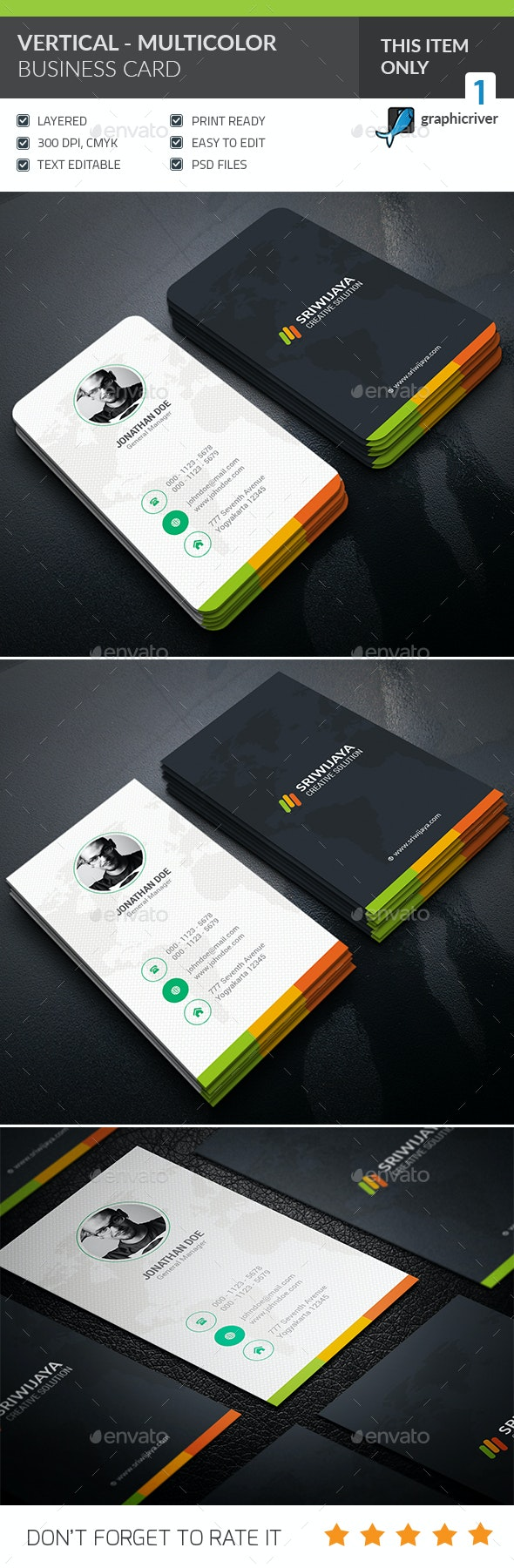 Vertical Multicolor Business card  - Creative Business Cards