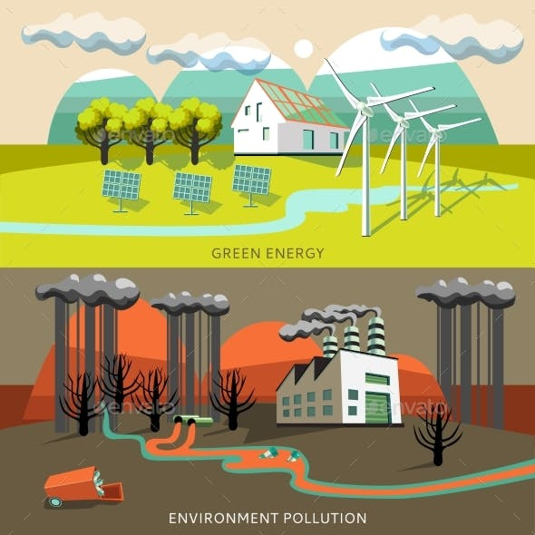 Green Energy And Environment Pollution Banners
