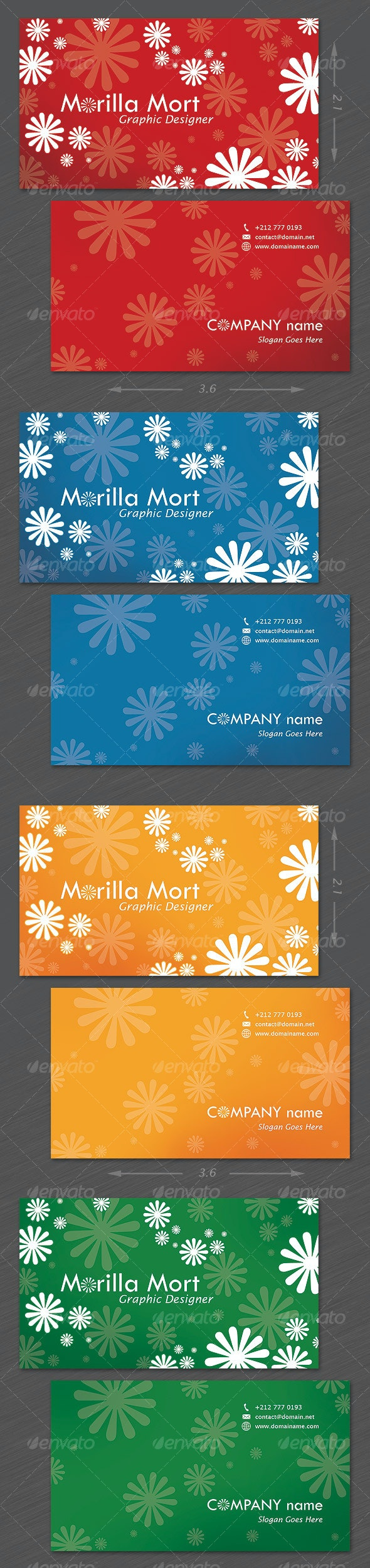 Delightful Personal Card - 4 colors - Retro/Vintage Business Cards