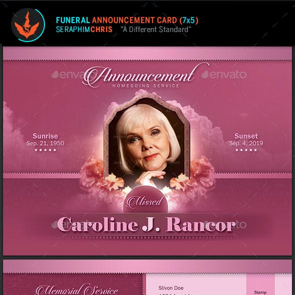 Funeral Announcement Card Template