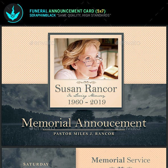 Classic Funeral Announcement Card Template