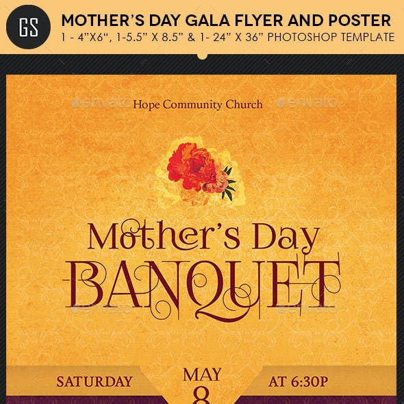 Mothers Day Gala Flyer Poster Template