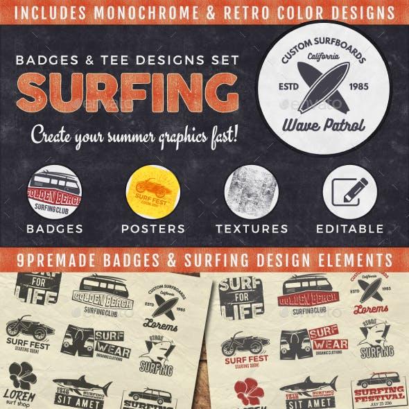 Vintage Surfing Badges & Tee Designs