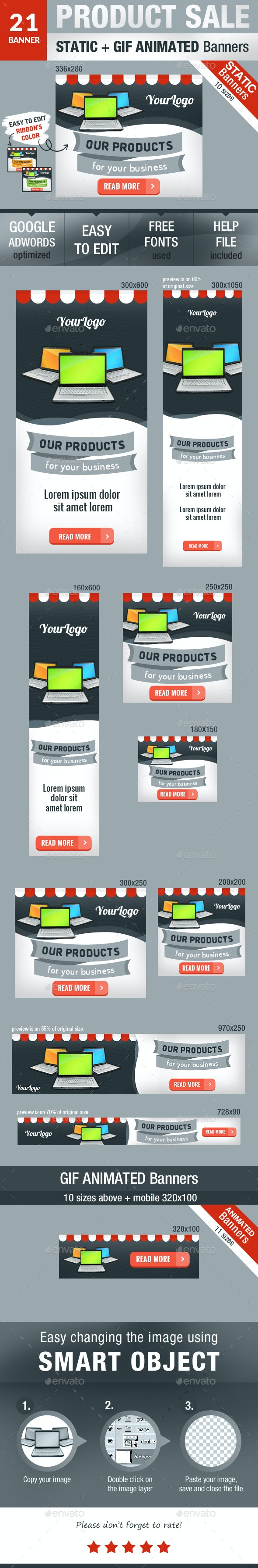 Product Sale Static and GIF Animated Banners - Banners & Ads Web Elements