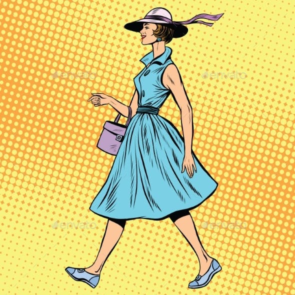 Retro Lady In Summer Dress And Hat