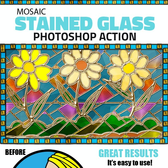 Mosaic Stained Glass Photoshop Action