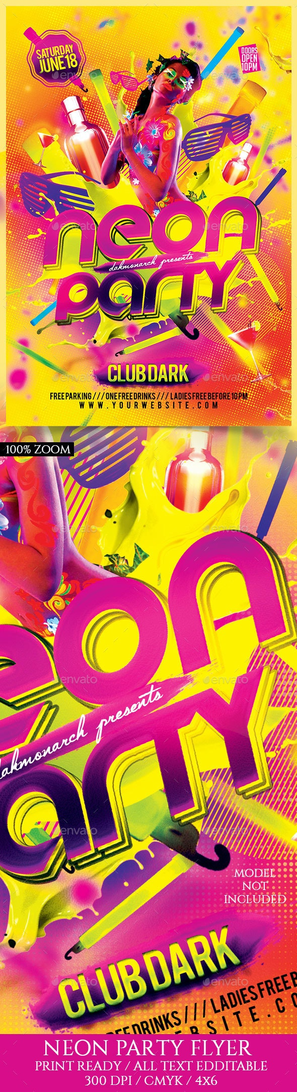 Neon Party - Events Flyers
