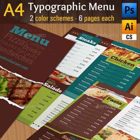 A4 Typographic Menu | All Purpose & Vegan Food