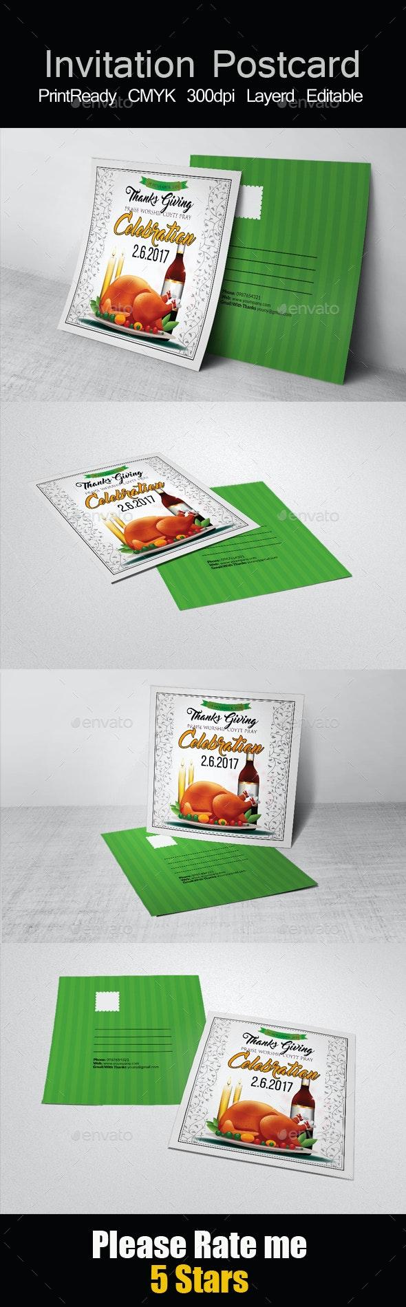 Square Thanksgiving Invitation Postcard  - Cards & Invites Print Templates