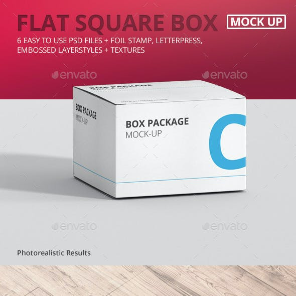 Package Box Mock-Up - Flat Square