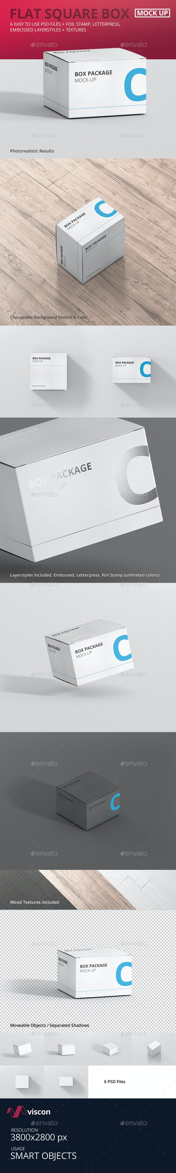 Package Box Mock-Up - Flat Square - Miscellaneous Packaging
