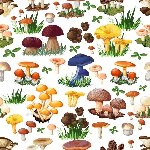 Mushroom Seamless Pattern - Abstract Conceptual