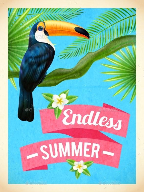 Toucan Bird Summer Vacation Flat Poster - Travel Conceptual