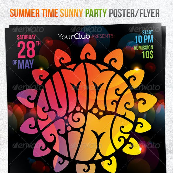 Summer Time Sunny Party Poster/Flyer