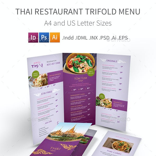 Thai Restaurant Trifold Menu 2