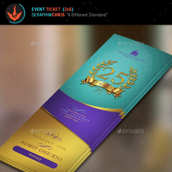 Regal Gold Lavender plus Teal Anniversary Ticket Template