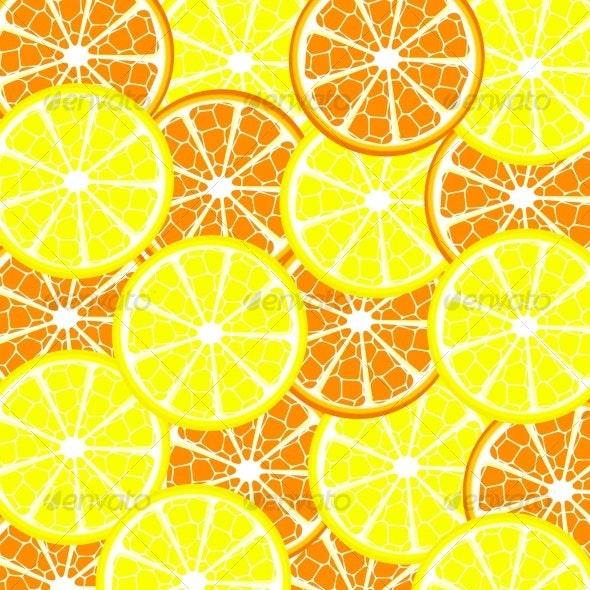 Vector illustration of lemon and orange background - Food Objects
