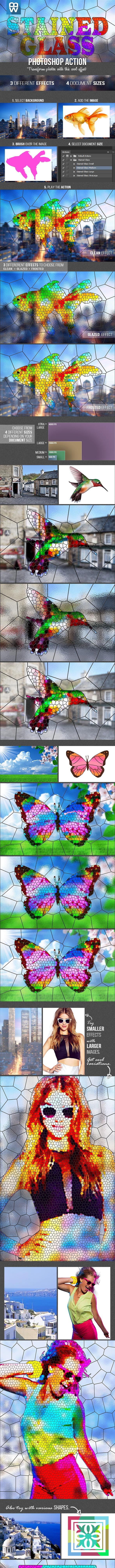 Stained Glass Photoshop Action - Photo Effects Actions