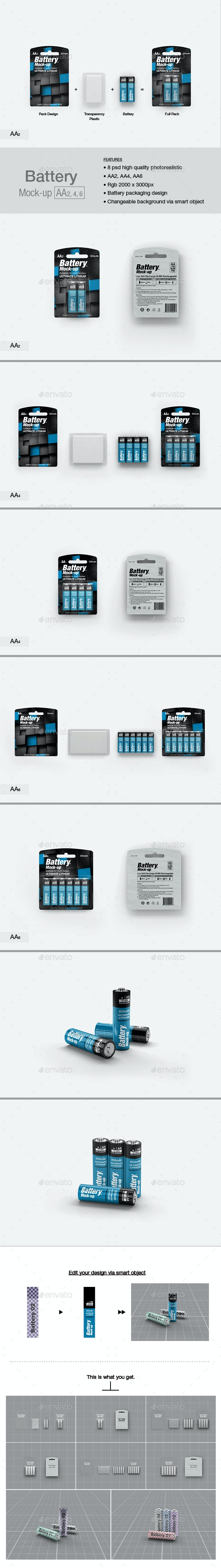Battery AA Mock-up - Packaging Product Mock-Ups