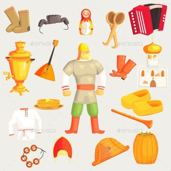 Classic Russian Culture Symbols Set