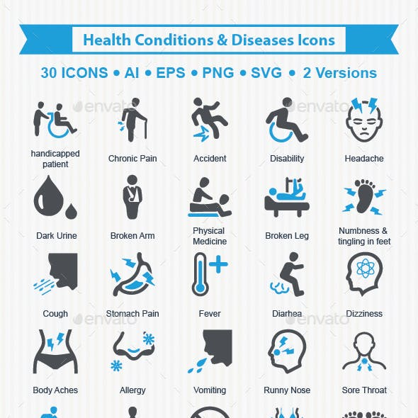 Health Conditions & Diseases Icons - Health Care Series