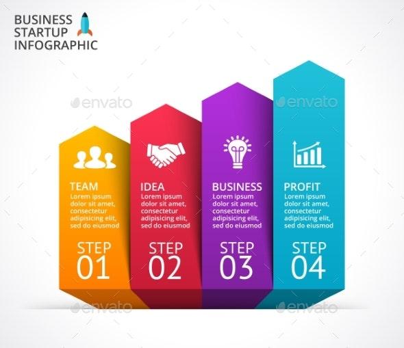 Arrows Diagram. Startup Infographic. PSD, EPS, AI