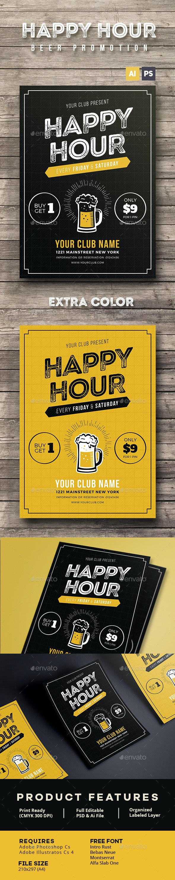 Happy Hour Beer Promotion Flyer / Poster - Events Flyers