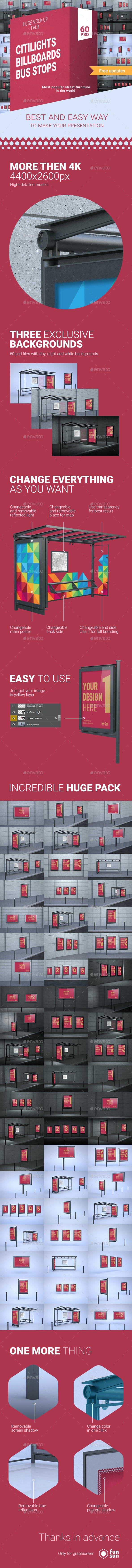 CBB Pack — 60 PSD Citylights, Billboards & Bus Stops Mock-ups! - Signage Print