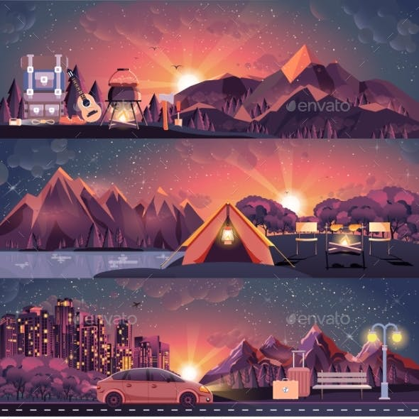 Illustration Set Of Night Landscape, Mountains