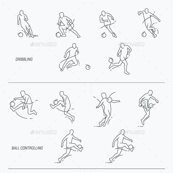 Soccer Player Thin Line Icon Set